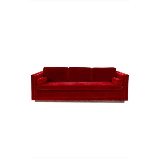 Wood Ward Bennett Red Mohair Tuxedo Sofa For Sale - Image 7 of 7