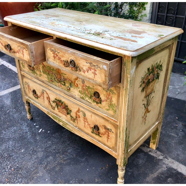 Antique Paint Decorated French Country Chest of Drawers Commode For Sale - Image 4 of 5