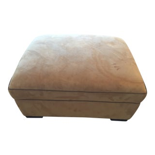 Custom Suede Ottoman W Leather Piping For Sale