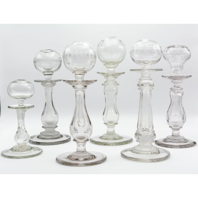 19th Century French Provençal Glass Oil Lamps - Set of 6 For Sale - Image 4 of 11