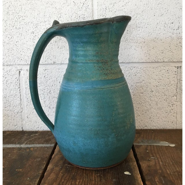 Boho Chic 20th Century Boho Chic Turquoise Studio Pottery Pitcher For Sale - Image 3 of 9