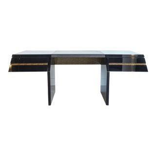 Italian Modern Black Lacquer and Zebrawood Desk, Giovanni Offredi for Saporiti For Sale