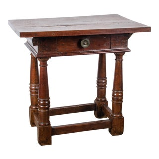 17th Century Continental Baroque Walnut Side Table For Sale