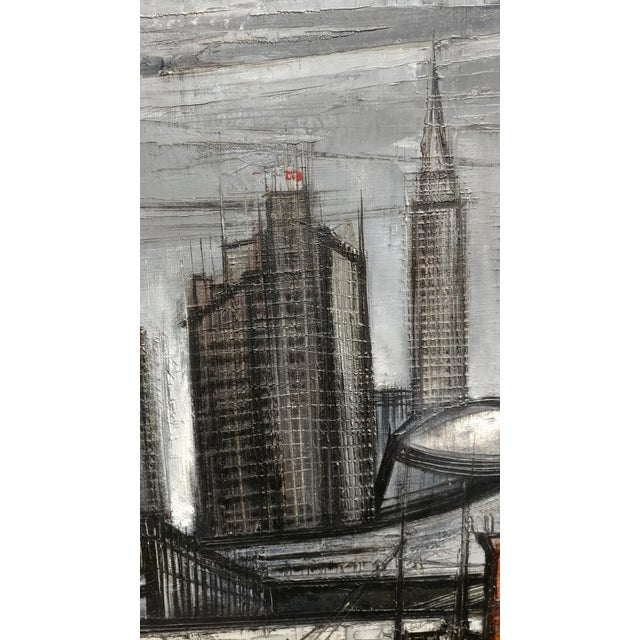 1960s Regis De Cachard - New York Skyline 1961 -Oil Painting For Sale - Image 5 of 10