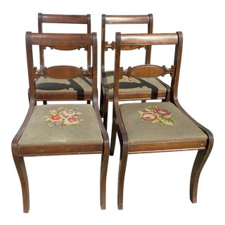 Vintage Dining Chairs With Handmade Needlepoint Seats - Set of 4 For Sale