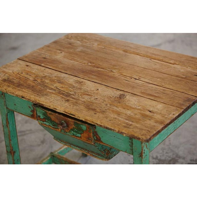 Late 19th Century 19th Century Primitive Painted Dough Farm Table with Large Drawer For Sale - Image 5 of 9