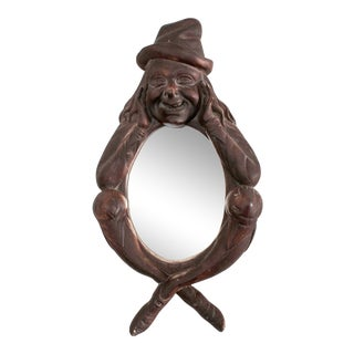 Whimsical Figural Plaster Wall Mirror For Sale