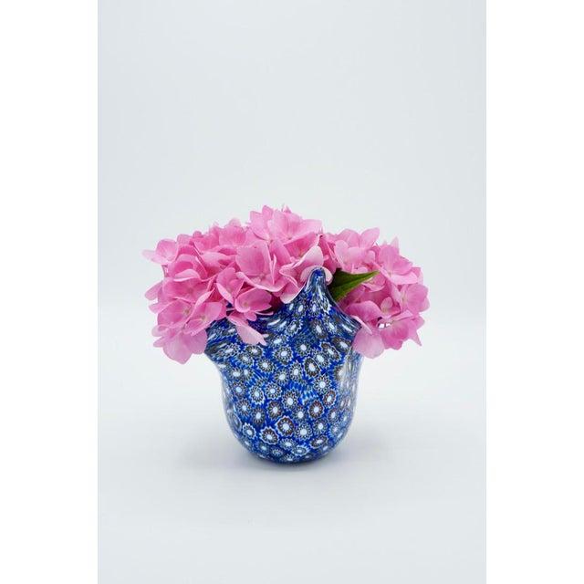 Blue Vintage Blue Murano Millefiori Handkerchief Vase For Sale - Image 8 of 13