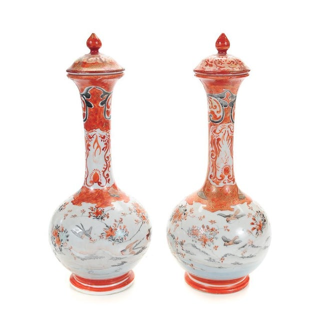Kutani 19th C. Japanese Porcelain Urns - A Pair - Image 1 of 9
