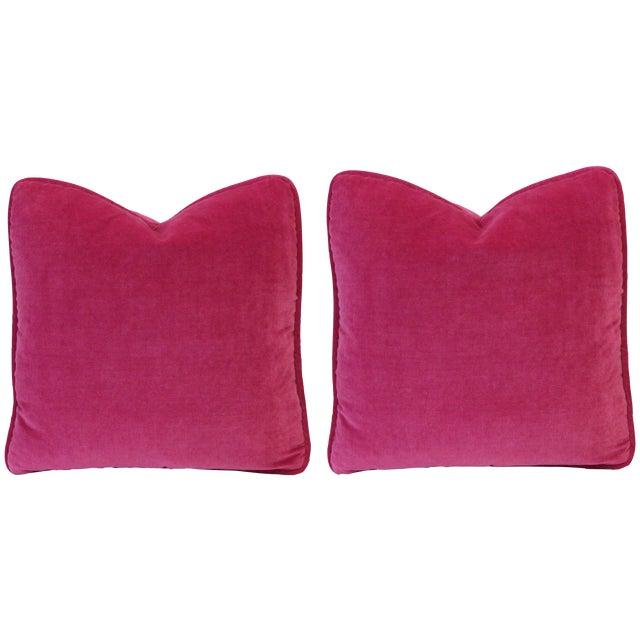 Fuschia Pink Velvet Pillows - Pair - Image 1 of 3