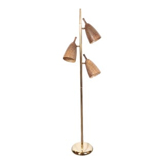 French Mid-Century Modern Three Shade Grasscloth and Brass Floor Lamp For Sale