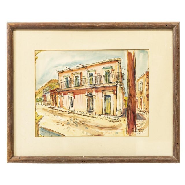 1950s Vintage Framed Watercolor of Alamos, Mexico by Bruce Marshall For Sale - Image 5 of 5