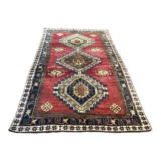 Antique Turkish Handmade Eclectic Wool Floor Rug - 4′3″ × 7′5″ For Sale