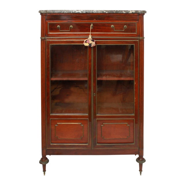 Late 19th Century Federal Style Mahogany Cabinet with Italian Marble Top For Sale