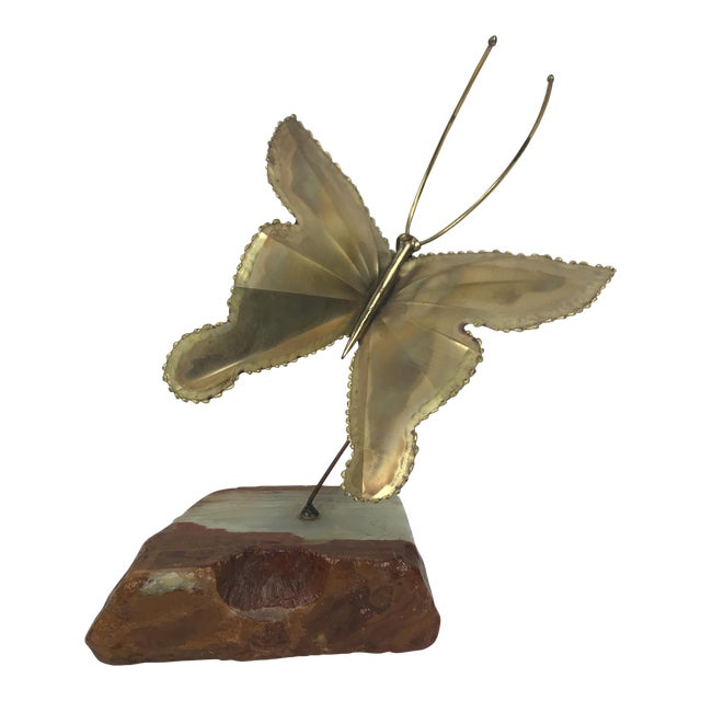 1950s Mid-Century Modern Kinetic Brass Butterfly Sculpture For Sale