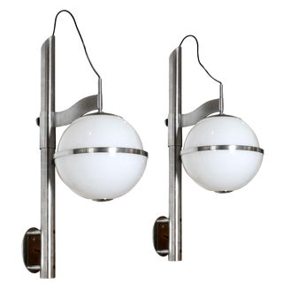 1970s Pair of Pusicona Large Wall Lights by Franco Micolitti, Artemide - Italy For Sale