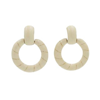 1970s Ciner Ivory Enamel Striped Hoop Earrings For Sale