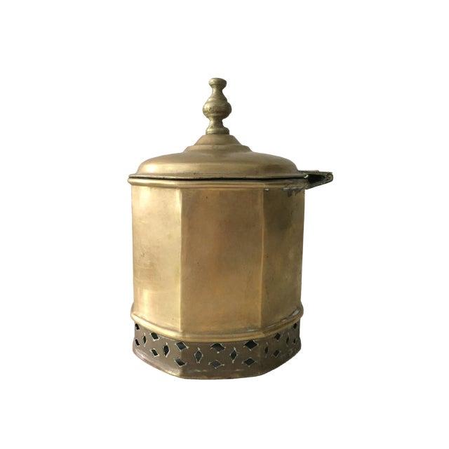 Primitive Moorish Brass Octagonal Kettle / Container For Sale