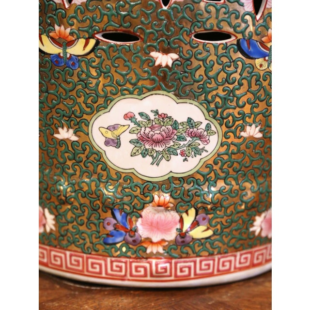Mid-Century Chinese Porcelain Garden Stool With Bird and Floral Decor For Sale - Image 11 of 13