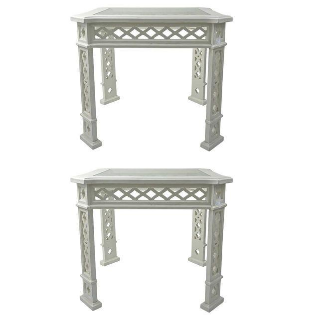 1960s White-Lacquered Side Tables - A Pair - Image 1 of 5