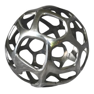 Contemporary Decorative Silver Metal Sphere For Sale