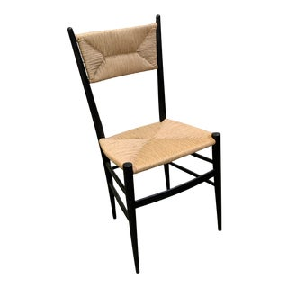 Gio Ponti-Rushed Ladder Back Chair For Sale