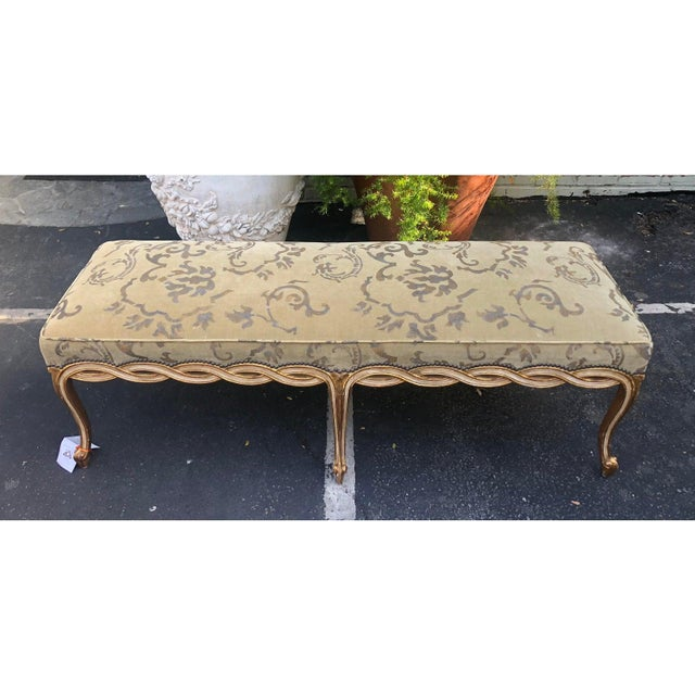 Traditional Regency Style Designer Ribbon Long Bench by Randy Esada Designs for Prospr For Sale - Image 3 of 5