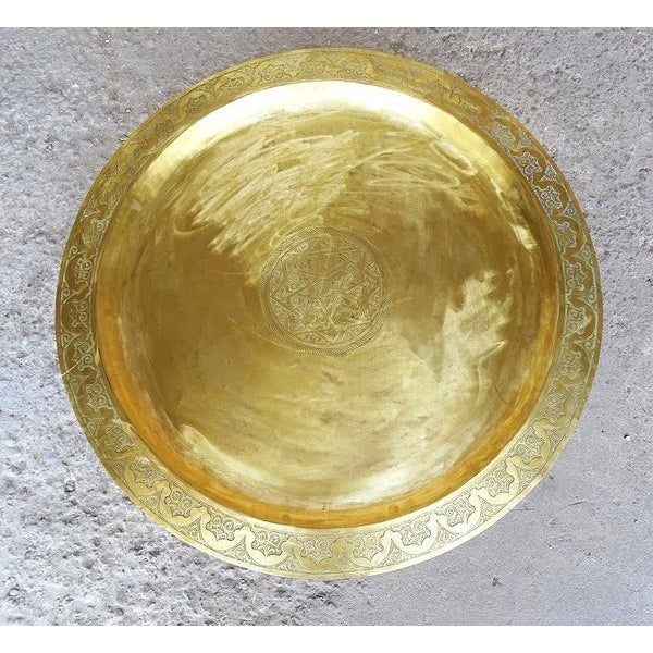 1960s Moroccan Brass Tray Oval Coffee Tea Table - Image 6 of 11
