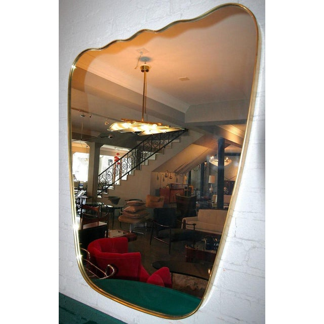 Contemporary Italian Wavy Brass Mirror For Sale - Image 3 of 6