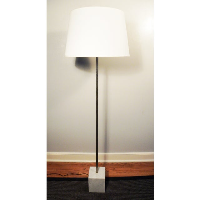 Mid-Century Chrome & Marble Pencil Floor Lamp - Image 2 of 8