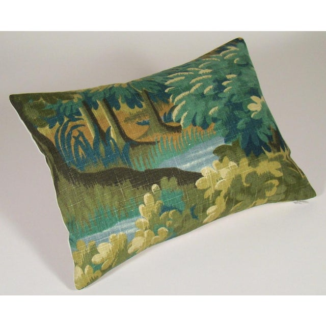 Contemporary Verdure Print Linen Lumbar Pillow Cover For Sale - Image 3 of 9