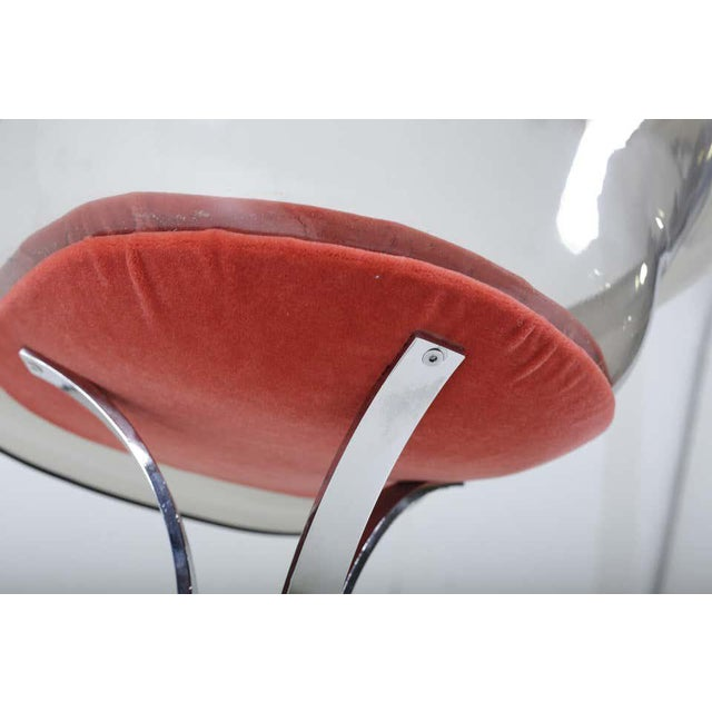 Peter Hoyte Acrylic Tulip Chair on Chrome Base For Sale In Chicago - Image 6 of 7