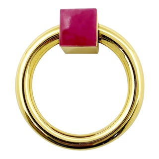 Addison Weeks Porter RIng Pull, Brass & Pink Jade For Sale