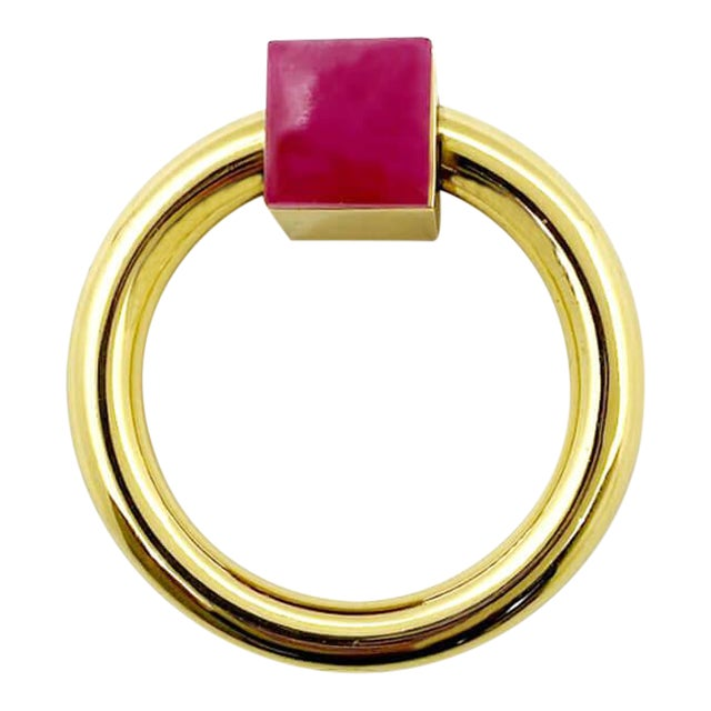 Addison Weeks Porter RIng Pull, Brass & Pink Jade For Sale