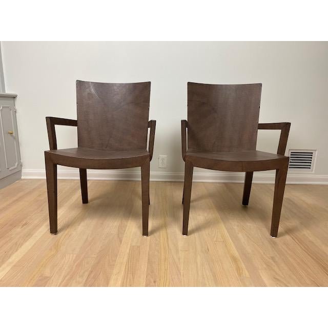 Two Authentic Signed 1987 Karl Springer Jean Michel Frank Style Captain's Dining Chairs. Embossed Lizard Leather in rich...