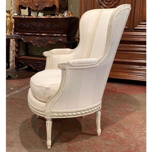 White 19th Century Louis XVI Carved Painted Bergere Armchair For Sale - Image 8 of 13