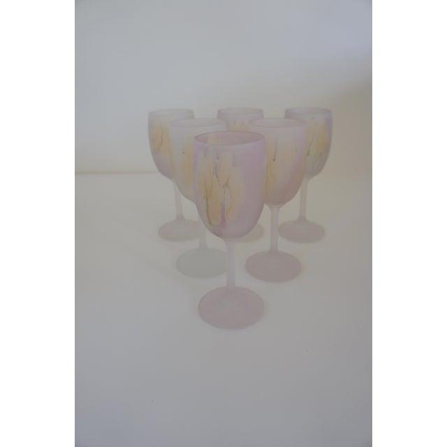 Rueven Watercolor Wine Glasses - Set of 6 For Sale - Image 4 of 6