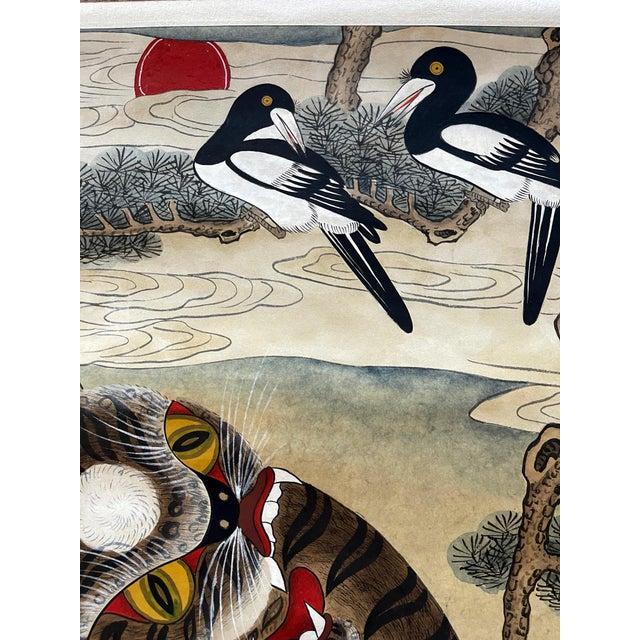 Korean Jakhodo Minhwa Folk Scroll Painting For Sale - Image 4 of 11