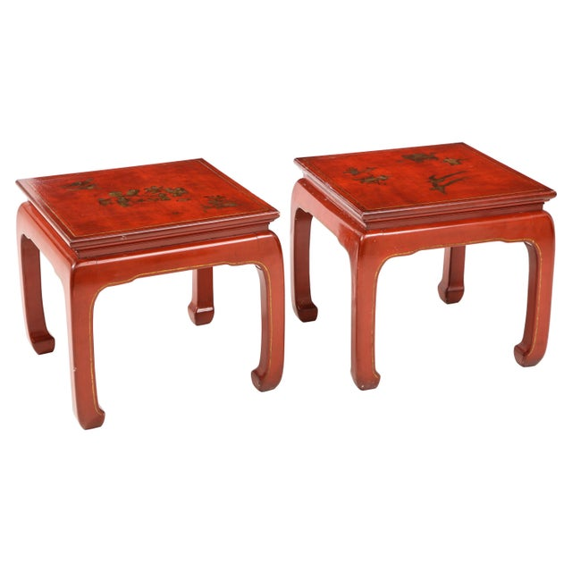Chinoiserie Red Lacquered End Tables - a Pair For Sale - Image 10 of 10