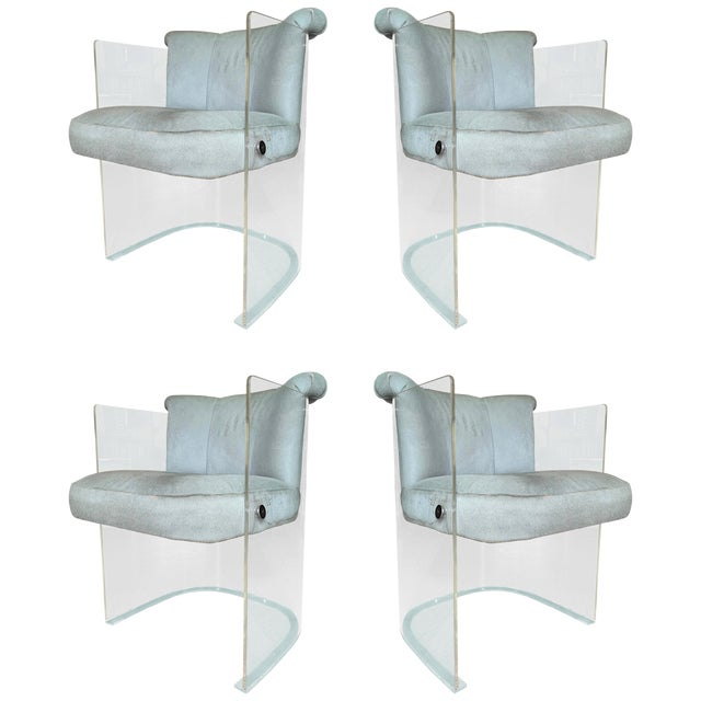 Set of 4 Barrel Chairs in Lucite and Pony Hair Leather For Sale
