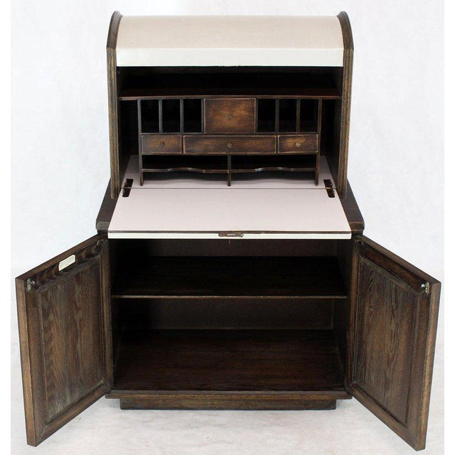 Cerused Carved Scallop Oak Leather Wrapped Campaign Portable Secretary Desk For Sale - Image 9 of 13