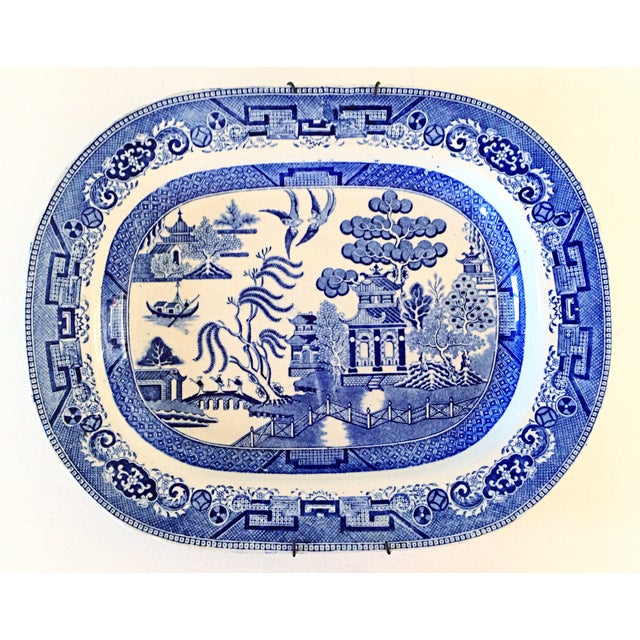 English Blue Willow Chinoiserie Serving Platter - Image 2 of 4