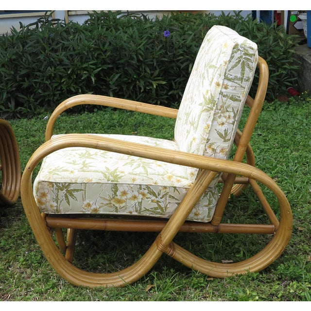 Americana Vintage Rattan Living Room Set Reverse Pretzel Sofa & - Set of 3Club Chairs For Sale - Image 3 of 6