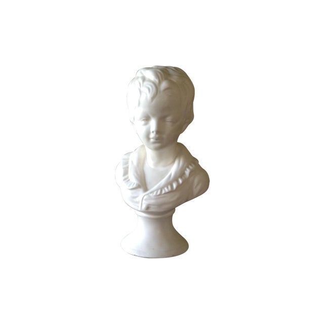Vintage White Ceramic Young Child Bust - Image 1 of 11