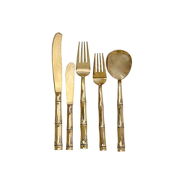 Mid-century gold-tone flatware, service for eight from France. 44 pieces. Made in Thailand for the French market. Made in...