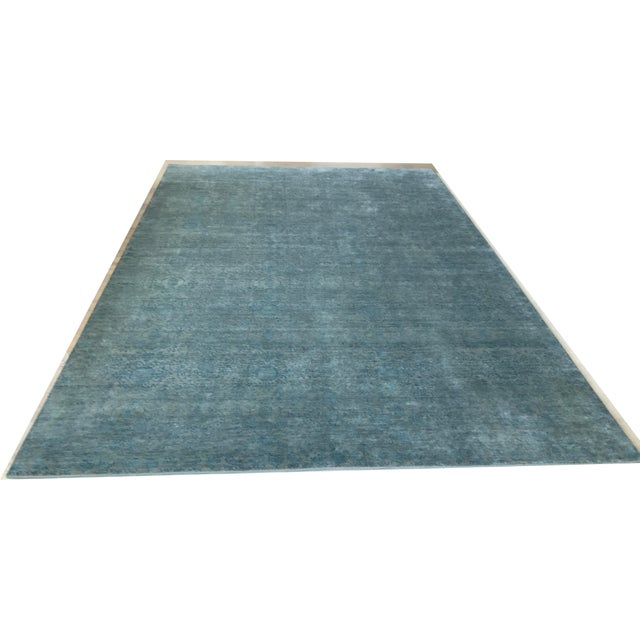 Hand Knotted Green Blue Grey Wool and Silk Rug - 10' x 14' For Sale - Image 4 of 4