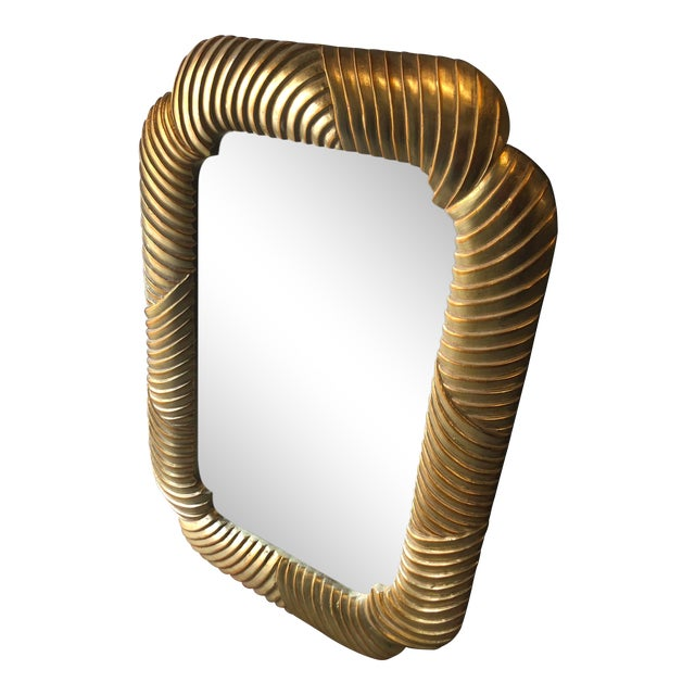 Grand, Bold and Large Art Deco Style Ribbed Mirror With Gold Leaf Finish For Sale