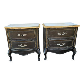 Midcentury 1960s Painted Pair of End Tables or Side Tables With Drawers, Set of Two For Sale