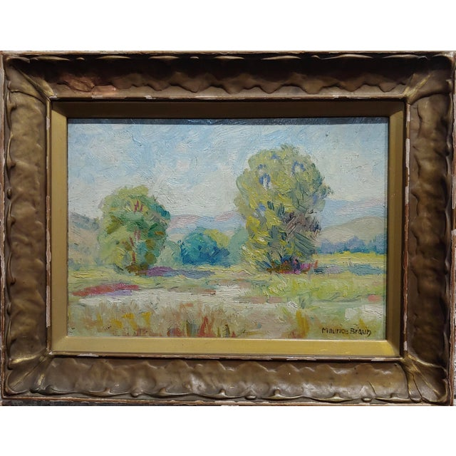 Maurice Braun - Study of a California Landscape -Oil painting oil painting on canvas board-Signed circa 1930s frame size...