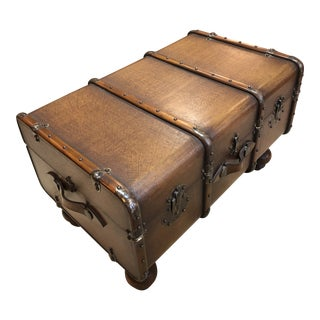 Embossed Leather and Mahogany Trunk Style Coffee Table For Sale